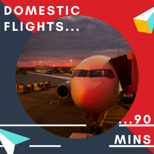 Check in at least 90 minutes prior to leaving on a domestic flight from Cardiff Airport